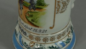 Decorative tankard 25 cm with bicycle motif