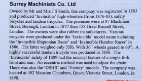 Surrey Machinists Co. 1888 - Race model 10 kg!!