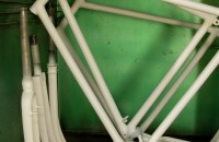 Painting the frames of historical bicycles